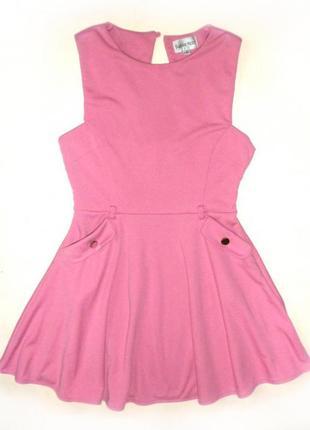 Стильное розовое платье №375