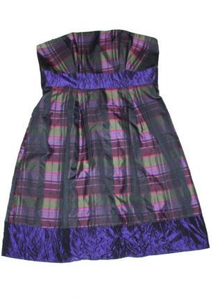 №8 стильное коктейльное платье в клетку.