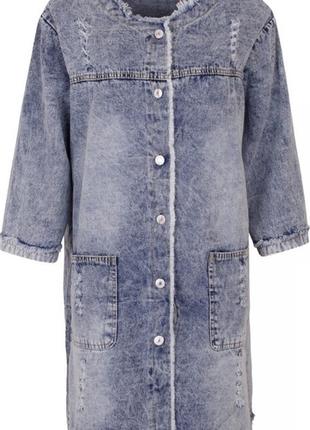 Женская удлиненная джинсовая куртка, большой размер.