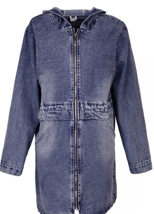 Женская синяя джинсовая куртка, большие размеры.
