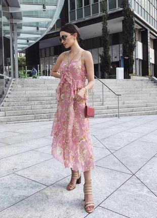 Шифоновое платье миди от zara