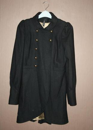 Шерстяное пальто в стиле милитари фрак  topshop №49