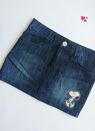 Юбка джинсовая с аппликацией и стразами, молодежная одежда