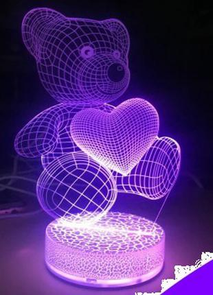 Светильник ночник Медвежонок с сердечком 3D