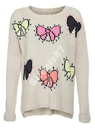 №84 стильный свитер с бантиками  new look
