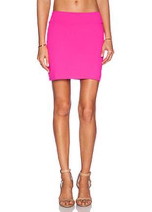 №16 яркая розовая мини юбка  h&m