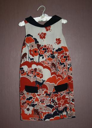 Стильное платье прямого покроя с оригинальным принтом №440