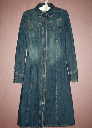 Актуальное джинсовое миди платье рубашка №444