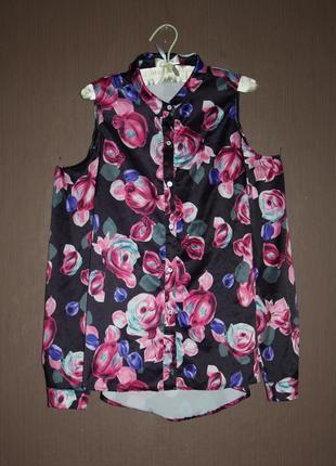Актуальная блуза рубашка с открытыми плечами №21