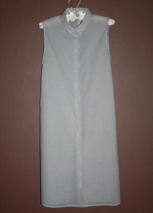 Актуальная длинная рубашка в полоску. №160