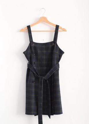 Мини платье-сарафан в клетку primark с поясом