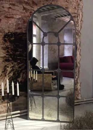 Состаренное зеркало в металической раме на заказ вся Украина