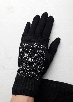 Красивые теплые перчатки на меху с жемчужинами
