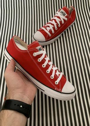 Кеды красные converse, низкие летние удобные кеды конверс