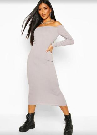 Платье миди в рубчик  boohoo