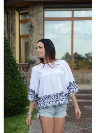 Блузка Zara с вышивкой белый голубой размеры M L