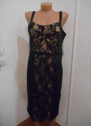 Платье р.12 спереди гипюр на бежевой ткани