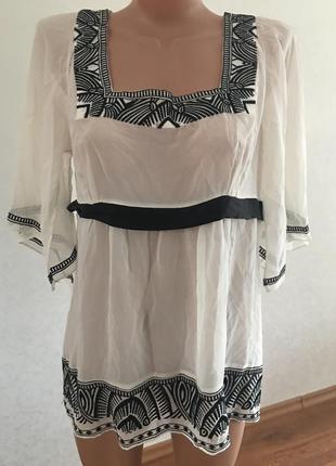 Красивейшая блузка  monsoon  натуральная р.16  вышита