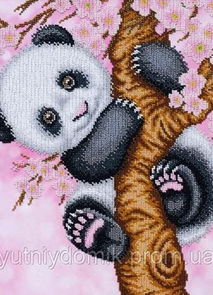 """Ткань с печатью для вышивки бисером """"Панда"""""""