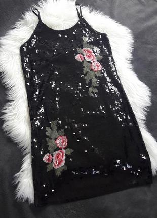 Платье в пайетки с розами