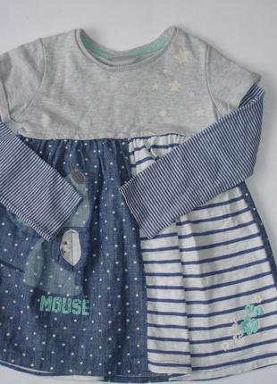 Фирменное next трикотажное платье девочке 2-3 лет идеал