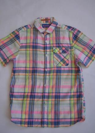 Фирменная next стильная рубашка лен мальчику 9-10 лет