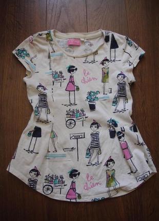 Фирменная next стильная футболка девочке 7-8 лет идеал хлопок