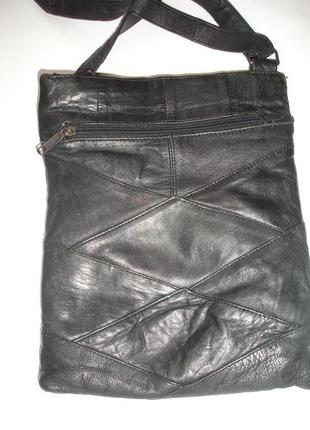 Фирменная кожаная сумка кросс боди с длинным ремнем в отличном...