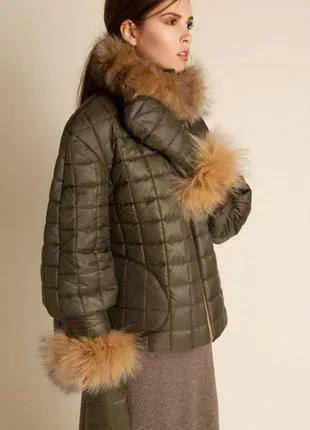 Женская зимняя куртка anna yakovenko l-xl 48-50р мех лисы теплая