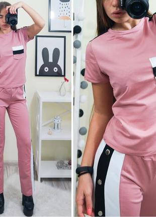 🔥новинка🔥крутой костюм брюки на кнопках + футболка/в расцветка...