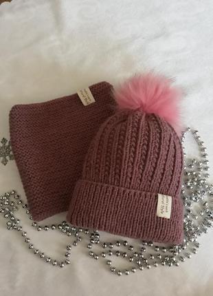 Комплект вязаний (шапка+снуд)