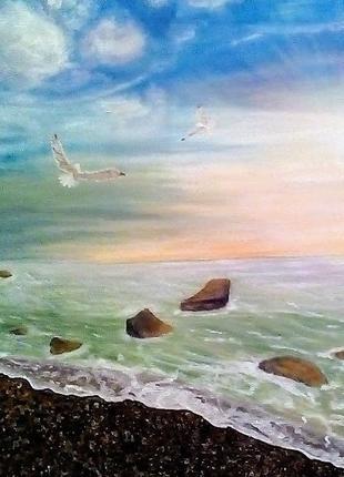 Картина маслом на холсте,морской пейзаж