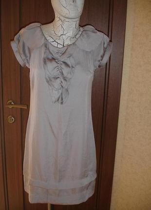 Фирменное стильное платье стального цвета 44 размер