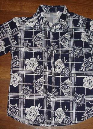 Фирменная стильная рубашка мальчику 9-10 лет хлопок