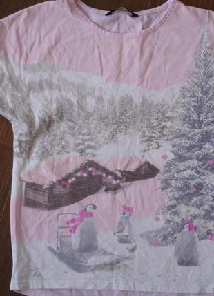 Фирменная от george нежная футболка девочке 7-9 лет хлопок