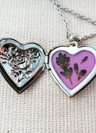 Кулон - сердце, сердечко, кулон с лавандой, украшение с цветам...