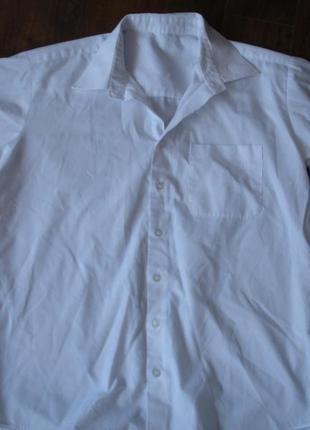 Фирменная белая школьная рубашка парню 14-15 лет george
