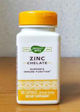 Цинк Хелат Nature´s Way, Zink Chelate, 30 мг, 100 капсул