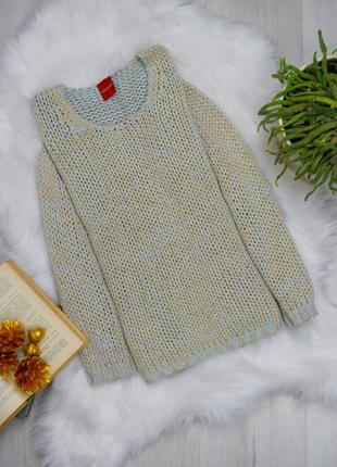 Бежевый вязаный свитер с голубой ниткой
