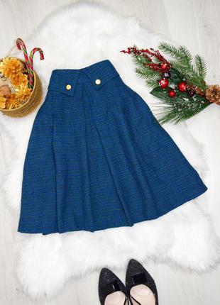 Шерстяная синяя в мелкую клетку юбка солнце до колен