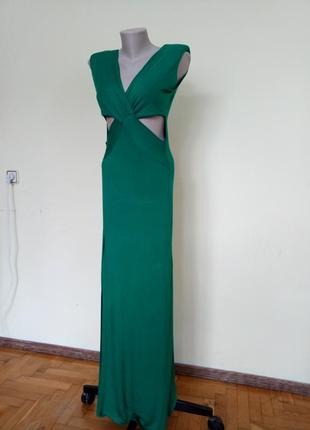 Шикарное английское длинное платье с открытым животом