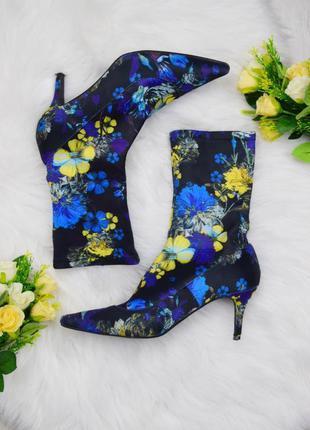 Ультрамодные трендовые атласные цветочные сапоги острый носок