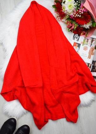 Ярко красная накидка кардиган шарф