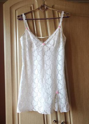 Белая кружевная комбинация/ночная сорочка/ночнушка/неглиже fre...