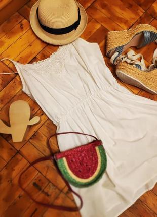 Супер летнее котоновое платье сарафан с отделкой в стиле бохо