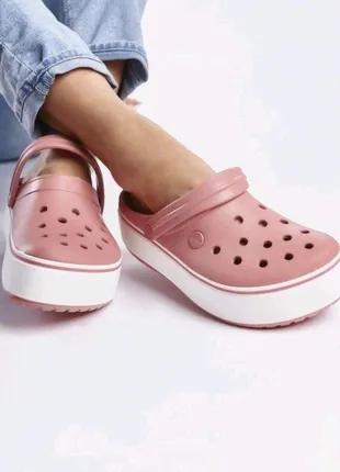 Сабо Кроксы Crocs Platform Blossom/White (розовый)