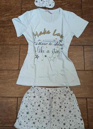 Комплект домашний с повязкой на глаза для сна, пижама футболка...