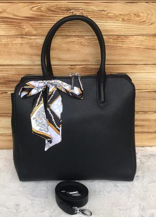 Женская кожаная сумка с косынкой на плечо polina & eiterou жін...