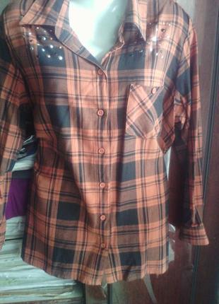 Крутая рубашка в кирпичную клетку размера плюс сайз 48 евро ра...
