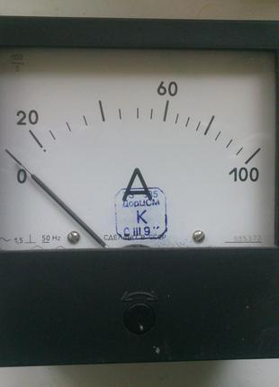 Амперметр змінного струму 100А, 5А переменного тока Є365-1